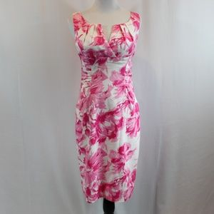 Adrianna Papell Pink White Floral Sheath Dress